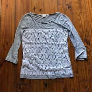 J crew grey and white lace blouse